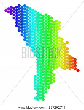 Hexagon Spectrum Moldova Map. Vector Geographic Map In Bright Colors On A White Background. Spectrum