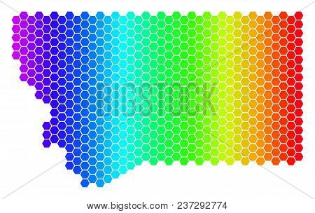 Spectrum Hexagonal Montana State Map. Vector Geographic Map In Bright Colors On A White Background.