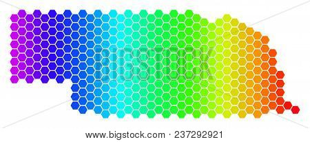 Hexagon Spectrum Nebraska State Map. Vector Geographic Map In Bright Colors On A White Background. S