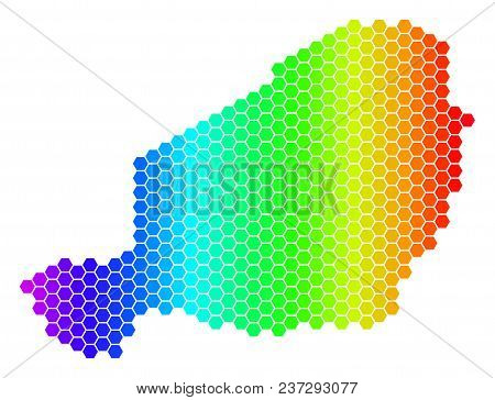 Spectrum Hexagonal Niger Map. Vector Geographic Map In Bright Colors On A White Background. Spectrum