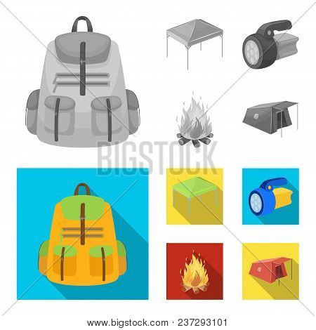 Awning, Fire And Other Tourist Equipment.tent Set Collection Icons In Monochrome, Flat Style Vector