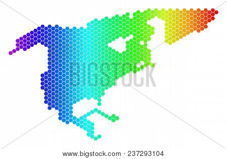 Hexagon Spectrum North America Map. Vector Geographic Map In Bright Colors On A White Background. Sp