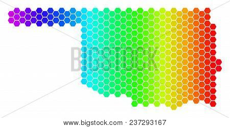 Spectrum Hexagonal Oklahoma State Map. Vector Geographic Map In Bright Colors On A White Background.