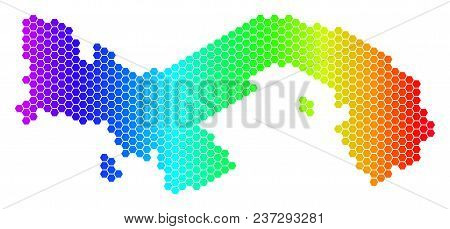 Hexagon Spectrum Panama Map. Vector Geographic Map In Bright Colors On A White Background. Spectrum