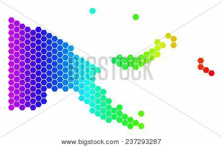 Hexagon Spectrum Papua New Guinea Map. Vector Geographic Map In Bright Colors On A White Background.
