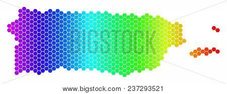 Spectrum Hexagonal Puerto Rico Map. Vector Geographic Map In Bright Colors On A White Background. Sp