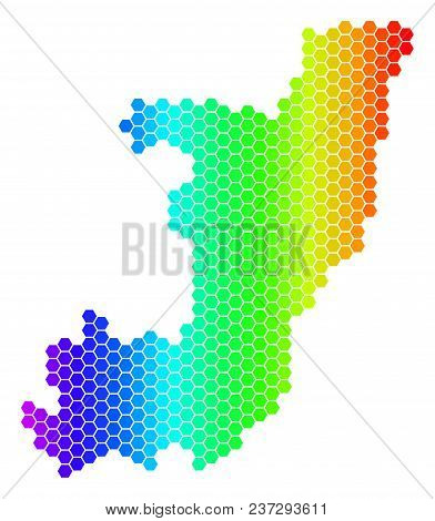 Hexagon Spectrum Republic Of The Congo Map. Vector Geographic Map In Bright Colors On A White Backgr