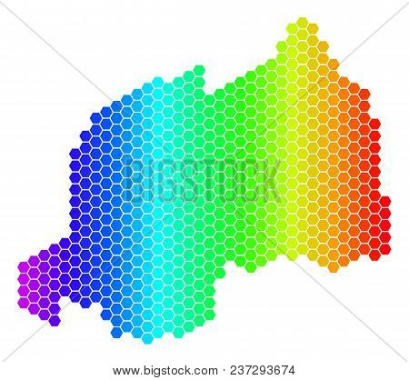 Spectrum Hexagonal Rwanda Map. Vector Geographic Map In Bright Colors On A White Background. Spectru