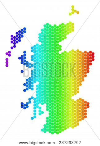 Hexagon Spectrum Scotland Map. Vector Geographic Map In Bright Colors On A White Background. Spectru
