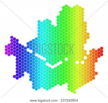 Hexagon Spectrum Seoul City Map. Vector Geographic Map In Bright Colors On A White Background. Spect