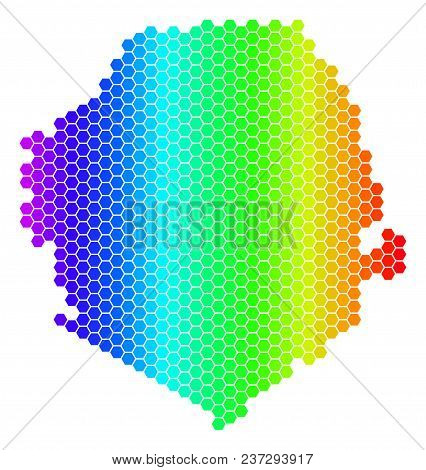 Spectrum Hexagonal Sierra Leone Map. Vector Geographic Map In Bright Colors On A White Background. S