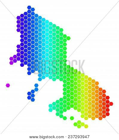 Spectrum Hexagonal Skyros Greek Island Map. Vector Geographic Map In Bright Colors On A White Backgr