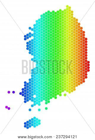 Hexagon Spectrum South Korea Map. Vector Geographic Map In Bright Colors On A White Background. Spec