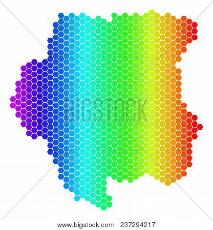 Spectrum Hexagonal Suriname Map. Vector Geographic Map In Bright Colors On A White Background. Spect