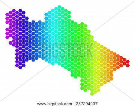 Spectrum Hexagonal Turkmenistan Map. Vector Geographic Map In Bright Colors On A White Background. S