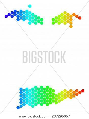 Hexagon Spectrum Usa Virgin Islands Map. Vector Geographic Map In Bright Colors On A White Backgroun