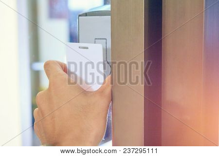 The Man Touch Key-card Of The Door Access