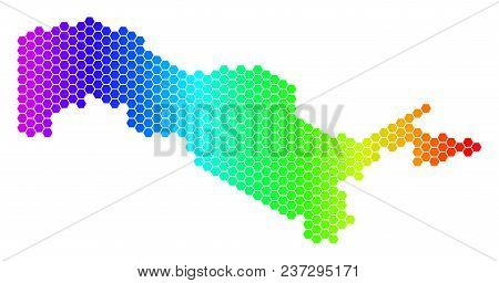 Hexagon Spectrum Uzbekistan Map. Vector Geographic Map In Bright Colors On A White Background. Spect