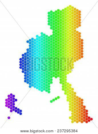 Spectrum Hexagonal Veraguas Province Map. Vector Geographic Map In Bright Colors On A White Backgrou