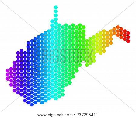 Spectrum Hexagonal West Virginia State Map. Vector Geographic Map In Bright Colors On A White Backgr