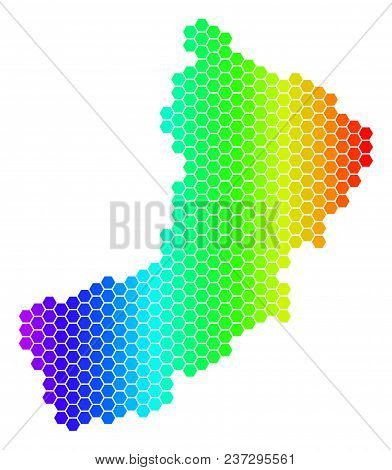 Hexagon Spectrum Yemen Map. Vector Geographic Map In Bright Colors On A White Background. Spectrum H