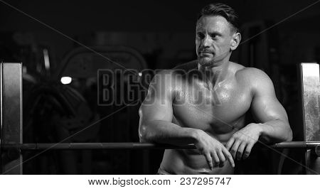 Portrait Of A Handsome Strong Male Athlete Posing In The Gym With A Barbell. Sports Concept