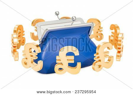 Purse With Pound Sterling Symbols Around, 3d Rendering Isolated On White Background