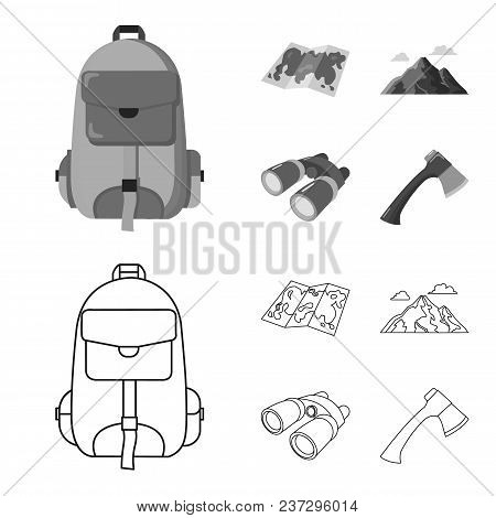 Backpack, Mountains, Map Of The Area, Binoculars. Camping Set Collection Icons In Outline, Monochrom