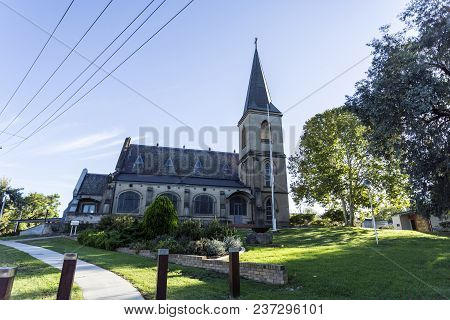 View Of The St John Evangelist Anglican Church, A Victorian Gothic Revival Building With Federation