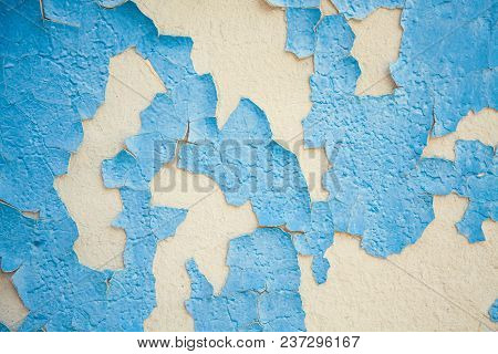 Texture Of Cracked Blu Plaster On The Wall