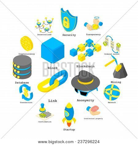 Blockchain Crypto Money Icons Set. Isometric Illustration Of 16 Blockchain Crypto Money Vector Icons