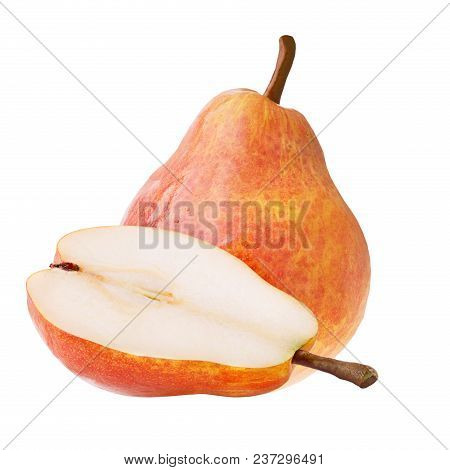 Isolated Fruits. One Whole And Half Sweet Pears Isolated On White Background With Clipping Path As P