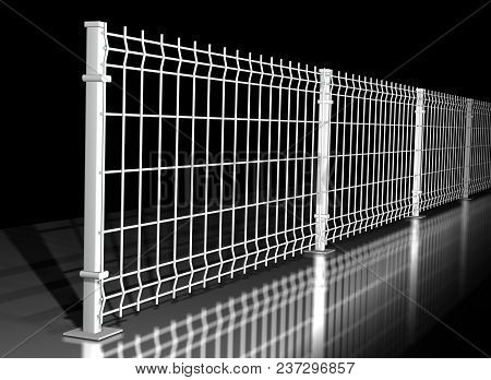 Grating Wire Industrial Fence Panels, White Pvc Metal Fence Panel 3d Illustration On Isolated Black