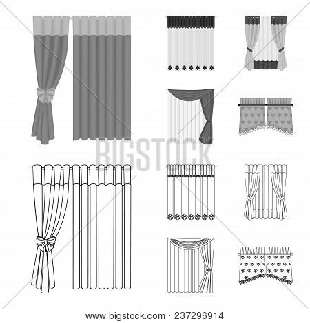Curtains, Drapes, Garters, And Other  Icon In Outline, Monochrome Style. Textiles, Furniture, Bow Ic