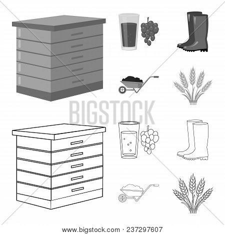 Hive, Grapes, Boots, Wheelbarrow.farm Set Collection Icons In Outline, Monochrome Style Vector Symbo