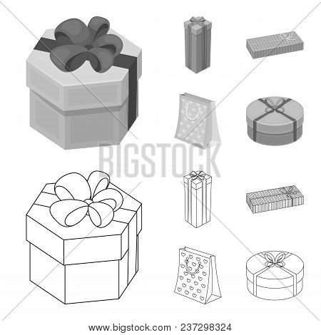 Gift Box With Bow, Gift Bag.gifts And Certificates Set Collection Icons In Outline, Monochrome Style