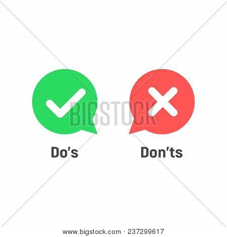 Speech Bubble Like Dos And Donts. Flat Simple Trend Modern Logotype Graphic Design. Concept Of Check