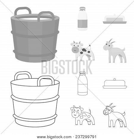 A Barrel Of Milk, Butter, A Cow. Milk Set Collection Icons In Outline, Monochrome Style Vector Symbo