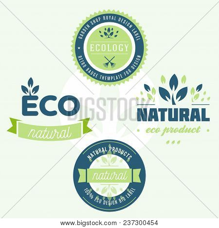 Set Of Labels And Stickers For Organic Food And Drink, And Natural Products. Vector Illustration Con