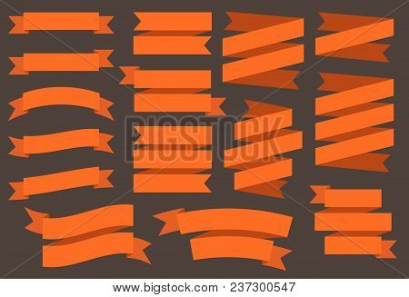 Vector Ribbons Banners Isolated On Black Background. Orange Color Tapes. Set Of 15 Flat Orange Ribbo