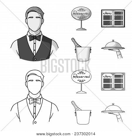 Waiter, Reserve Sign, Menu, Champagne In An Ice Bucket.restaurant Set Collection Icons In Outline, M