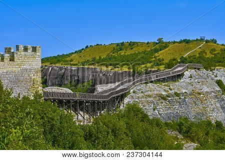 Wooden Bridge To The Ovech Fortress. Provadia, Bulgaria