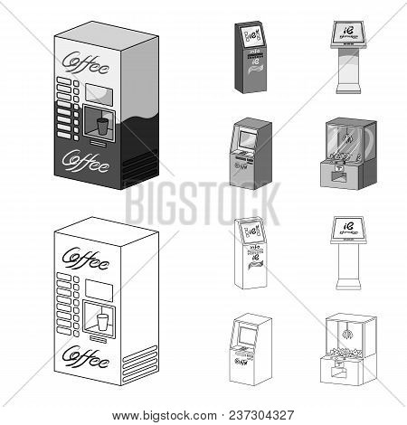 Coffee Machine, Atm, Information Terminal. Terminals Set Collection Icons In Outline, Monochrome Sty