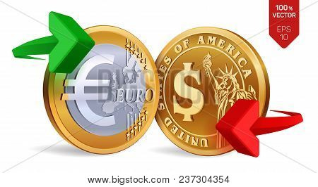 Dollar To Euro Currency Exchange. Dollar And Euro Coins. Exchange Concept. Golden Coins With Euro An