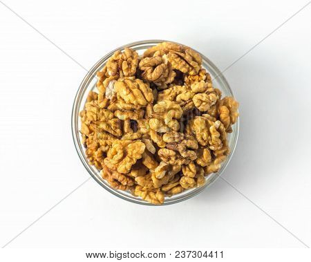 Circassian Walnut In Bowl On White Background Isolated, Top View