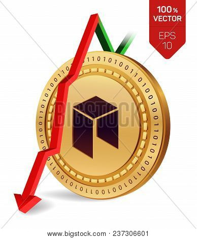 Neo. Fall. Red Arrow Down. Neo Index Rating Go Down On Exchange Market. Crypto Currency. 3d Isometri