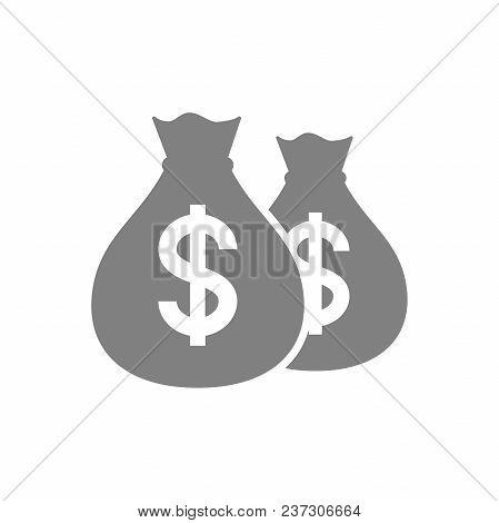 Bags Of Dollar Money Pictogram Icon. Dollars Money Bag Icon. Money Sack Icon.