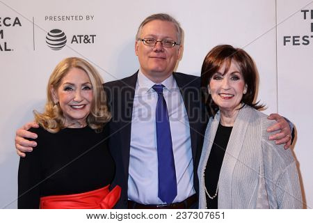 NEW YORK, NY - APRIL 21: (L-R) Sandra Geller, Steve Young and Patt Stanton Gjonola attend the 'Bathtubs Over Broadway' screening during 2018 Tribeca Film Festival at BMCC Tribeca PAC.