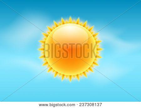 Sun Realistic Rays Icon. Vector Weather Forecast Sun Sky Design. Sunshine Nature Summer Light.