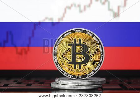 Bitcoin (btc) Cryptocurrency; Coin Bitcoin On The Background Of The Flag Of Russia (russian Federati